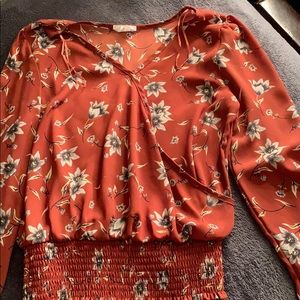 low cut flower'd blouse